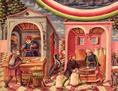 Jupiter, detail of fruit and grain merchants, from 'De Sphaera', c.1470 (vellum) (detail of 308309), De Predis, Cristoforo (1440/45-86) (attributed to) / Biblioteca Estense, Modena, Italy / Giraudon / The Bridgeman Art Library