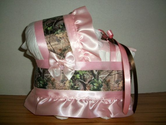 pink camo camouflage girl diaper bassinet baby shower gift table decoration centerpiece on Etsy, $15.00