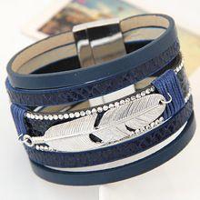 Nueva Aleación de La Manera de Plumas Hojas Anchas Magnética pulseras y brazaletes para Las Mujeres de Los Hombres de Cuero…
