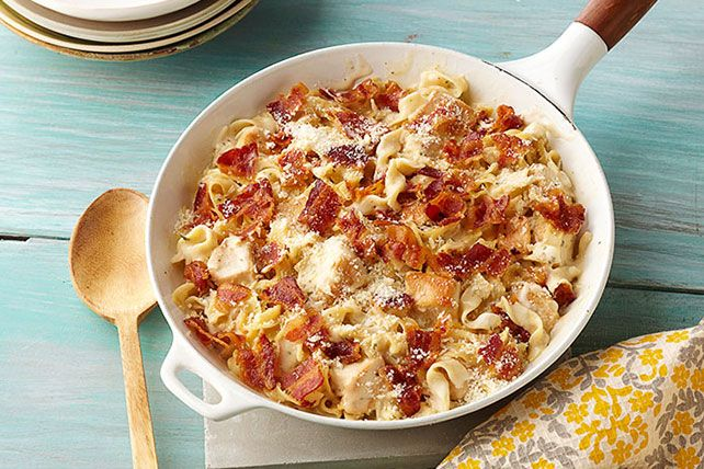 Cheesy Alfredo meets easy chicken skillet dish in this bacon-and-Parmesan-topped crowd-pleaser.