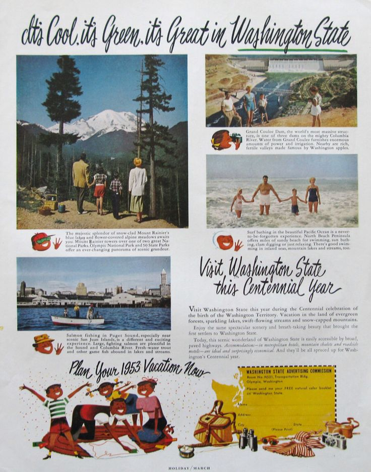 1953 Washington State Travel Ad - Centennial Year - Mount Rainier - Olympic National Park - Grand Coulee Dam - 1950s Washington Tourism Ad by RetroReveries on Etsy https://www.etsy.com/listing/266597923/1953-washington-state-travel-ad
