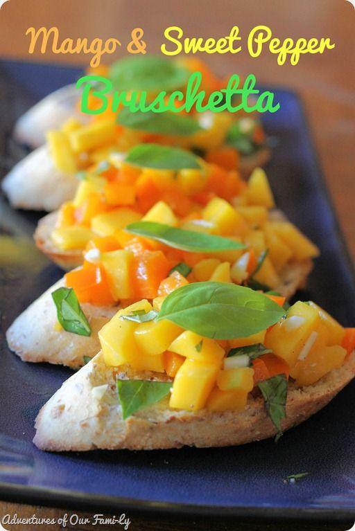 mango and sweet pepper bruschetta recipe.  sweet bruschetta.  appetizers.  parties and entertaining.