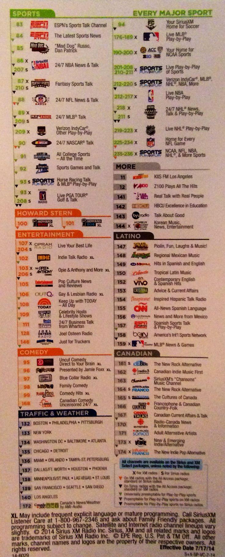 Sirius XM Satellite Radio channel Lineup