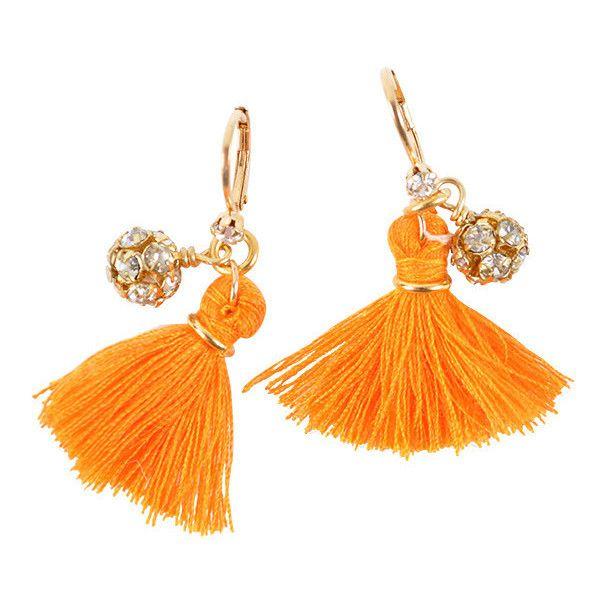 John Wind Tangerine Tassel Earrings ($28) ❤ liked on Polyvore featuring jewelry, earrings, john wind jewelry, john wind, tassel earrings, tangerine jewelry and rhinestone jewelry