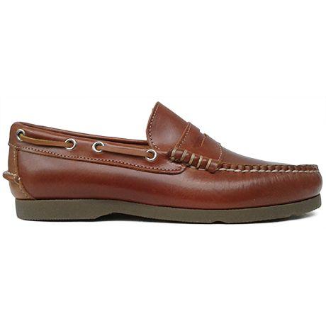 8334 Zapato mocasín beefroll con antifaz en color cuero de Ashcroft | Calzados Garrido