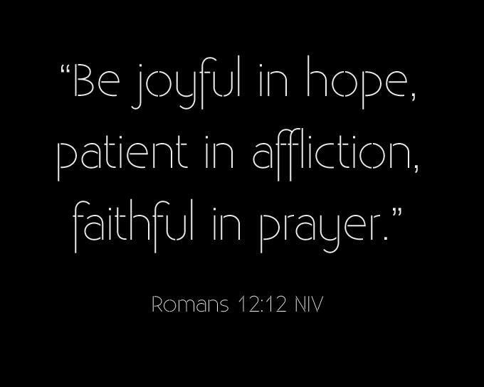 Doesn't mean be joyful in trials, but to be patient. To be joyful in the hope that trials bring.