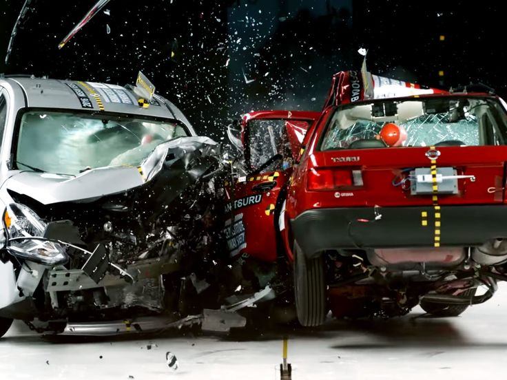 This crash test video shows two cars in a collision. One of these cars meets USA safety standards and the other for Mexico.