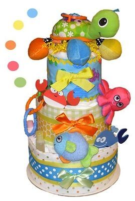 Sea Life Child Diaper Cake - Stork Child Present Baskets. >> See even more at the picture