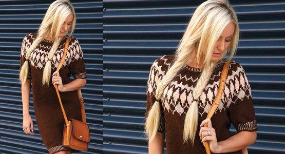 Платье с орнаментом на кокетке вязаное спицами