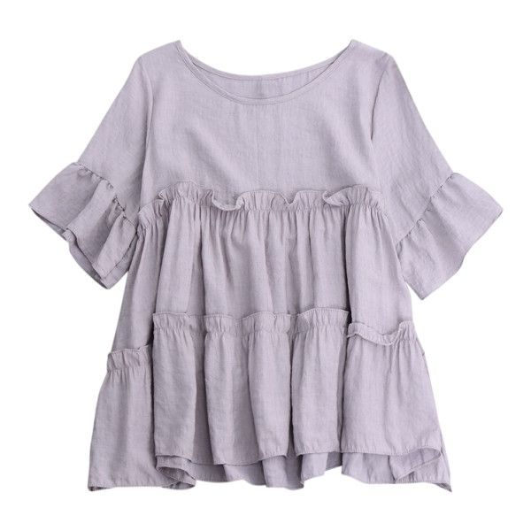 Ruffles Smock Blouse ($16) ❤ liked on Polyvore featuring tops, blouses, frill blouse, smock top, frill top, ruffle top and frilled blouse