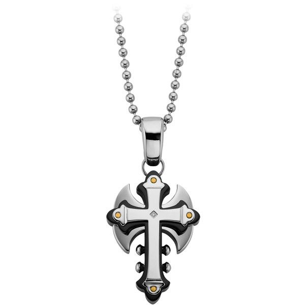 Men's Diamond Accented Cross with Ax Pendant in Stainless Steel (5,535 INR) ❤ liked on Polyvore featuring men's fashion, men's jewelry, men's necklaces, white, mens white gold necklace, mens cross necklace, mens pendants, mens watches jewelry and mens white gold pendants