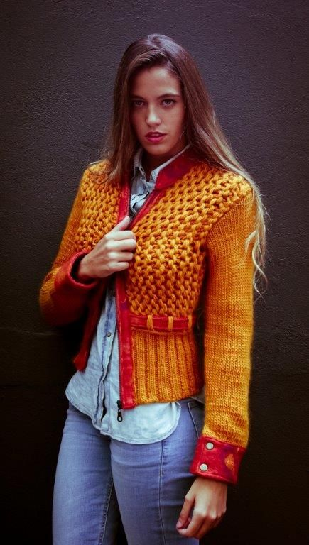 Knit jacket, Bomber Jacket, orange knitwear, pure wool coat