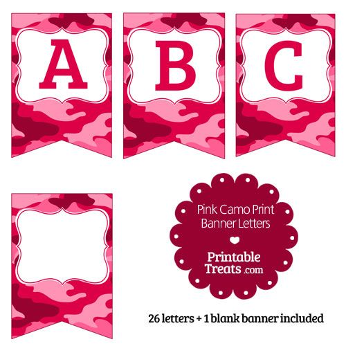 Printable Pink Camo Banner Letters A-M from PrintableTreats.com