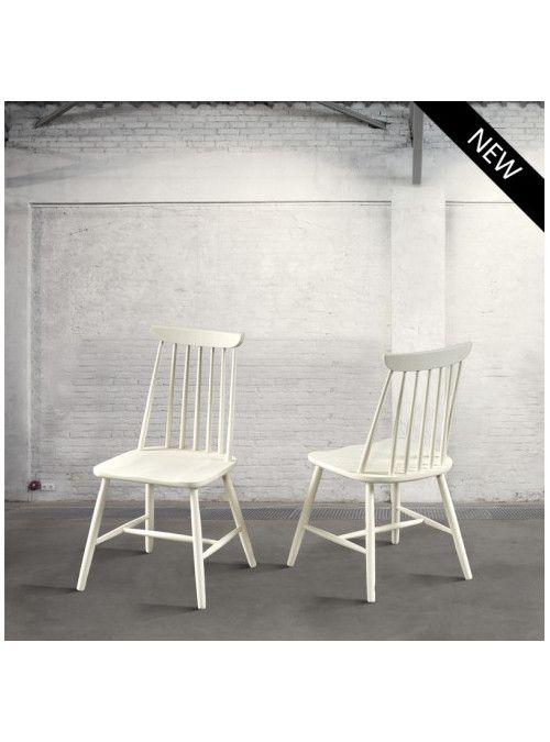 Sedia in faggio verniciata bianco opaco effetto naturale, stile vintage per…