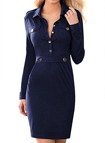 Miusol Women's Vintage Navy Style Long Sleeve Slim Business Pencil Dress Navy Blue Small