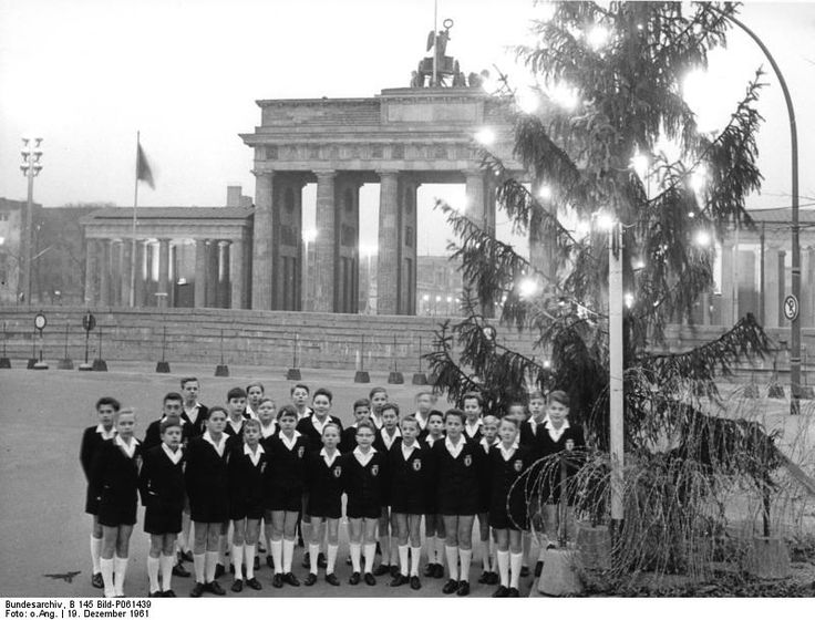 468 1961Berlin-Schoneberg Boys choir singing Christmas carols near the Brandenburger Tor