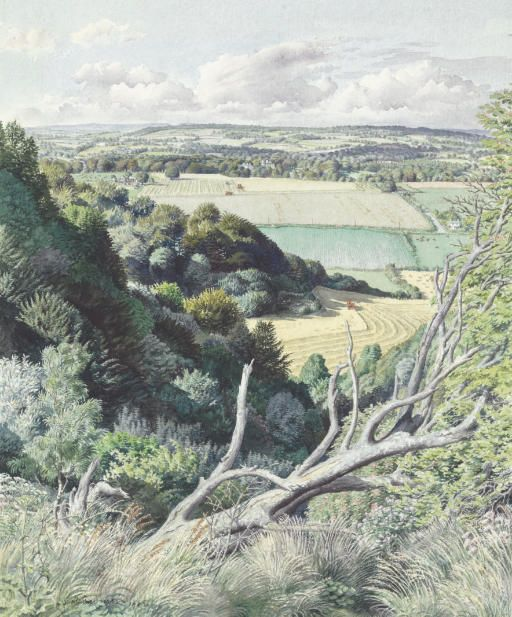 Stanley Roy Badmin. The Steep Wood, English landscape watercolor
