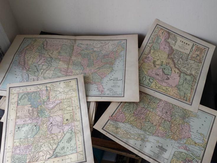 c1888 Antique Loose Local & World Atlas Maps