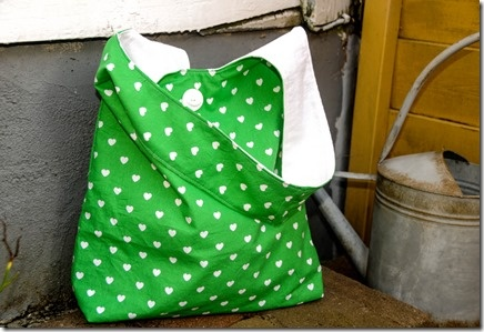New green heart fabric with vintage feeling.