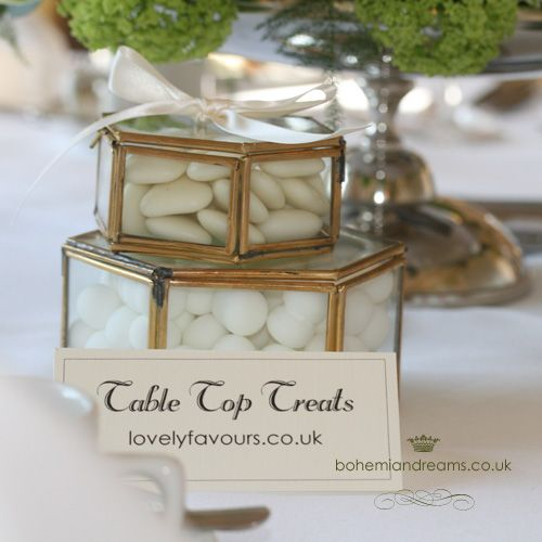 glass boxes for table treats www.bohemiandreams.co.uk