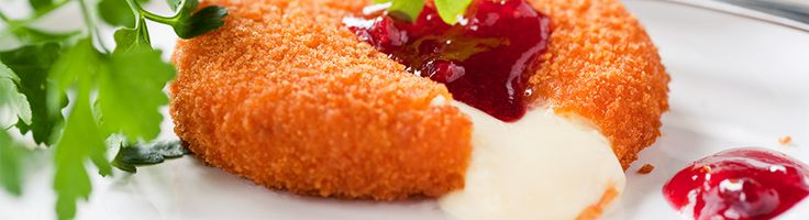 Deep Fried Brie with raspberry coulis