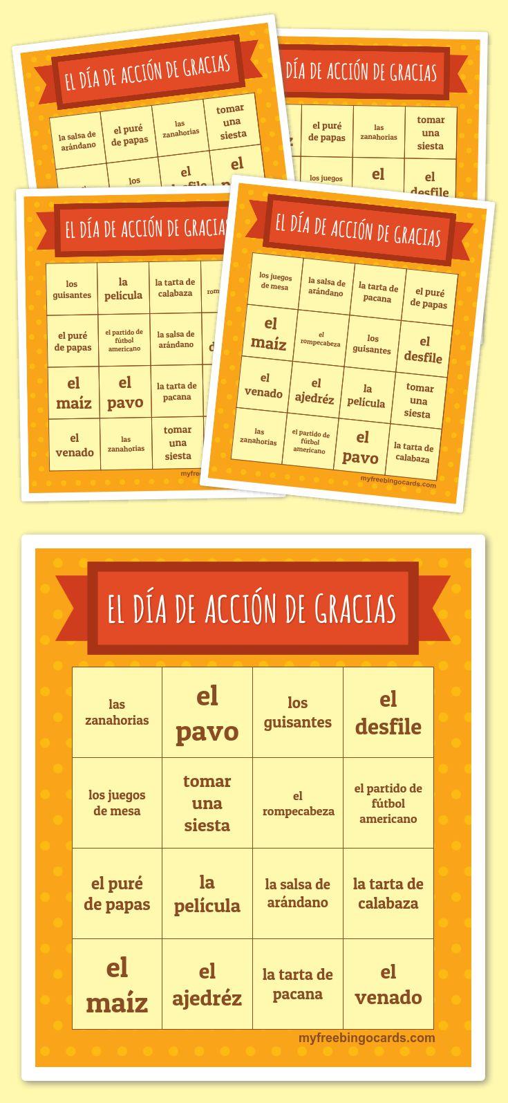 El Día de Acción de Gracias Bingo