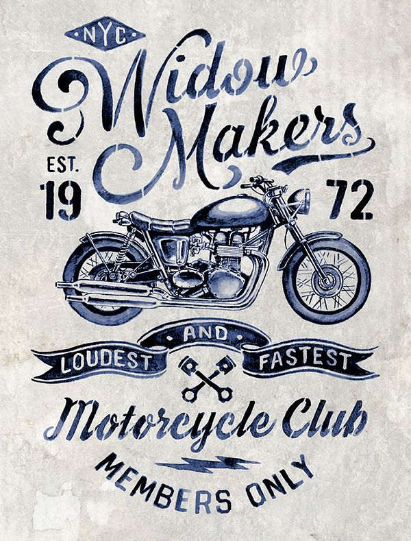 Motorcycle inspired vintage graphics by Michael Hinkle