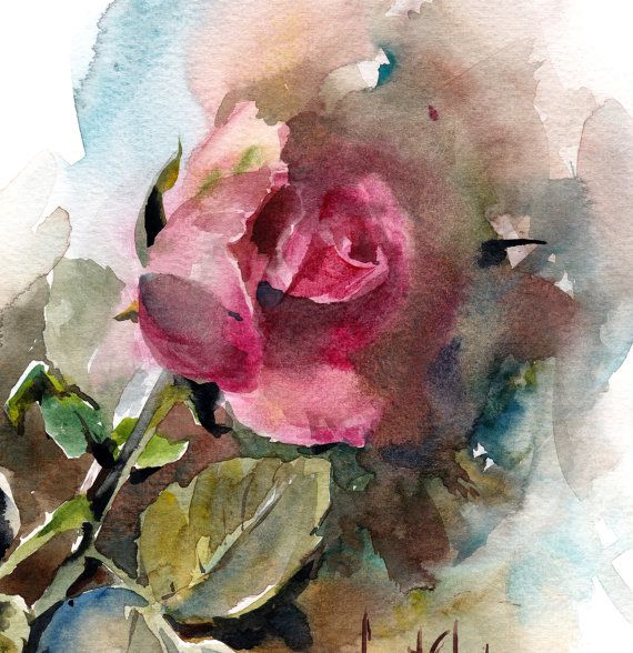 Rose Watercolor Painting ORIGINAL Painting by CanotStop on Etsy