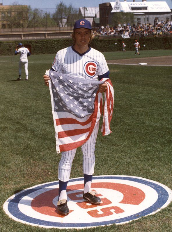 baseballhall:    Today is Flag Day! Rick Monday of the Chicago Cubs rescued an American flag from potential incineration on April 25, 1976 at Dodger Stadium. This picture of Monday with that flag is a part of the Hall of Fame's photo archive.