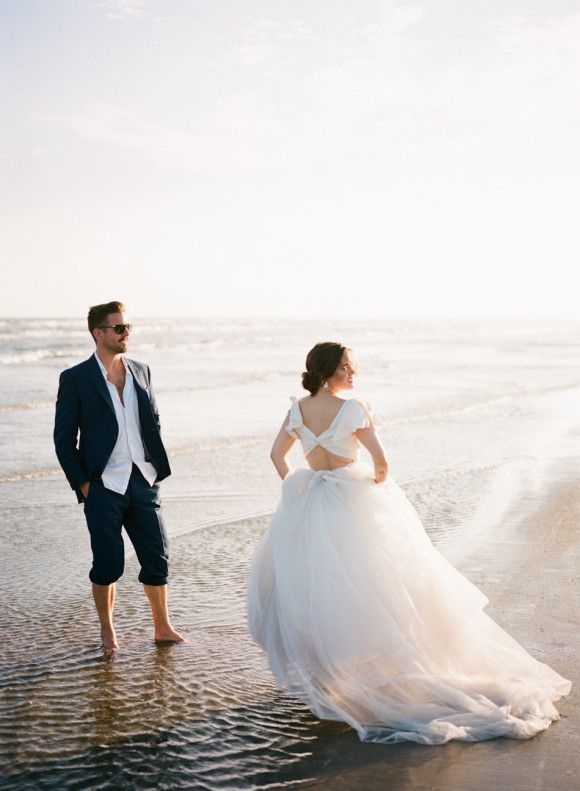 Stylish Beach Wedding In Black Tie Style