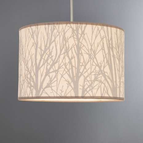 Crafted from a natural hessian fabric, this ceiling pendant is designed with a print of twigs in a soft grey tone, set against a cream base. The light shade is ...