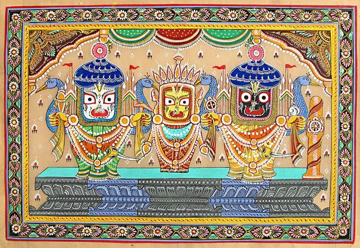 Jagannath, Balaram, Subhadra (Orissa Paata Painting on Tussar Silk - Unframed)