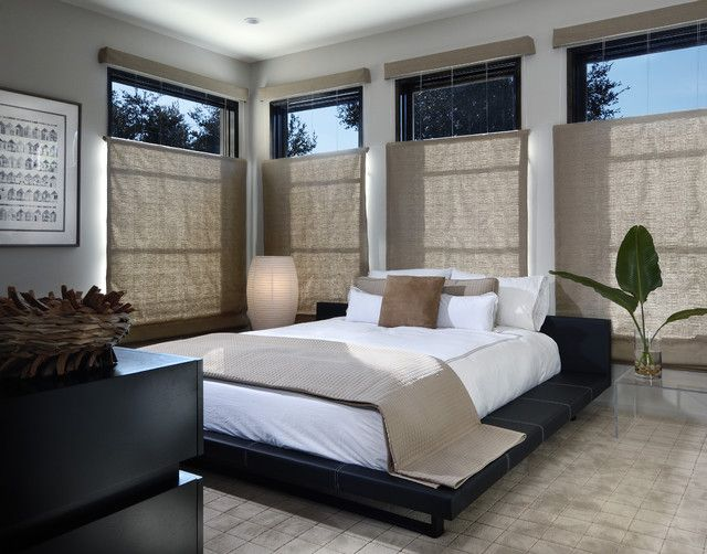 modernes zen schlafzimmer stil futon bett fensterrollos - platzsparend bett decke hangen