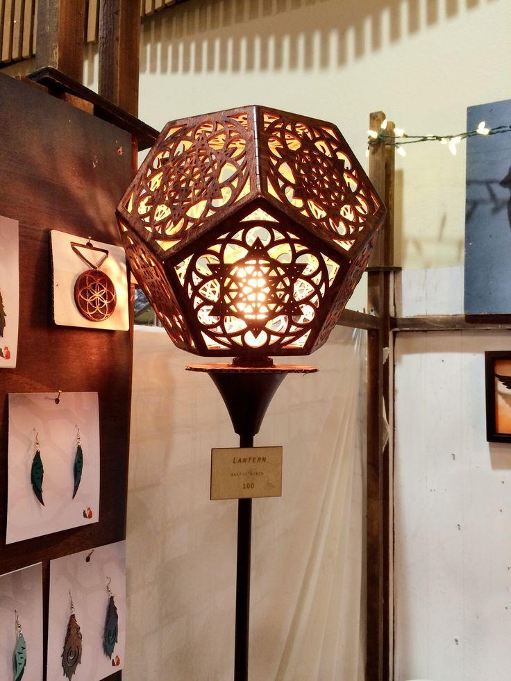 Laser cut wooden stand lantern, made by Pancoast, ShadowFox Design