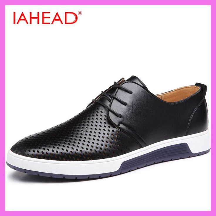 Men Leather Casual shoes For Summer Spring Solid Lace Up Genuine Leather Shoes Normal Size Fashion Super Quality Flats Shoe MC03