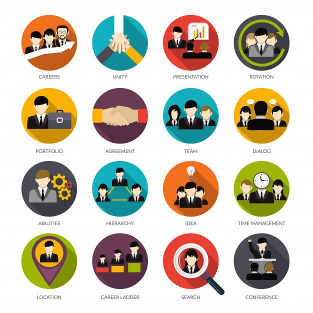 Human Resources Icons Set Free Vector Ploskie Ikonki Nabor