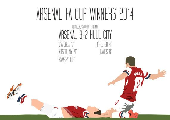 Arsenal FA Cup Winners 2014 A3 Poster: 297mmx420mm Ramsey, Wilshere, Arsenal. Gunners, FA Cup, Trophy, Red, White, Football, London, Soccer