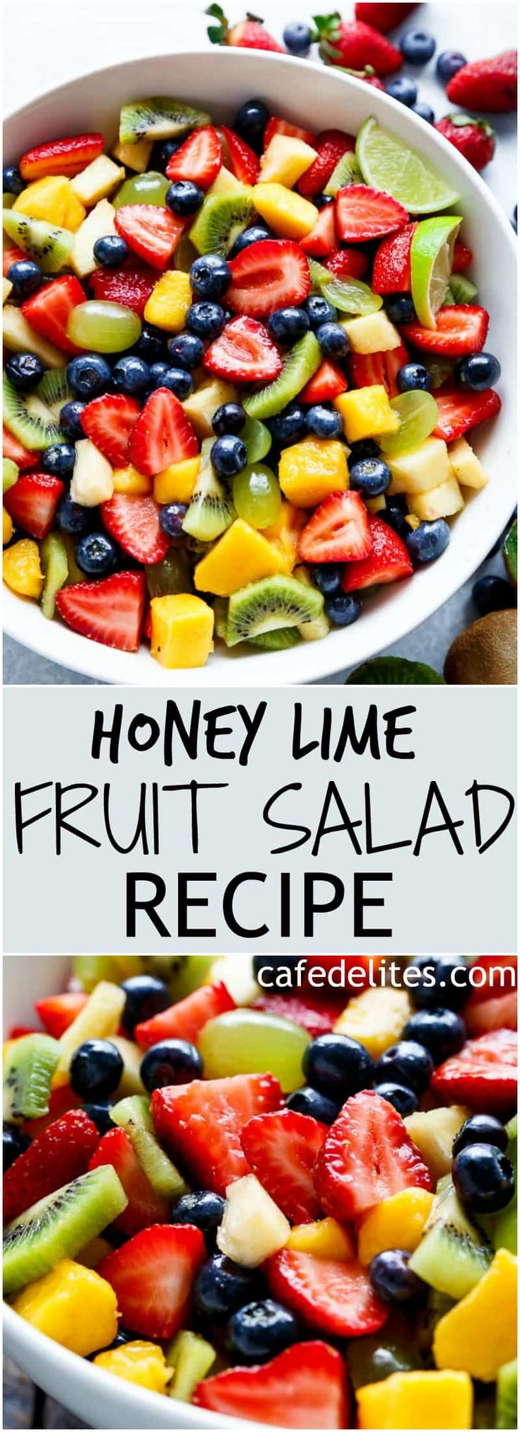 Honey Lime Fruit Salad is an incredible tasting and refreshing fruit salad! If you love honey and lime, you will LOVE a bowl of this fruit salad! | https://cafedelites.com