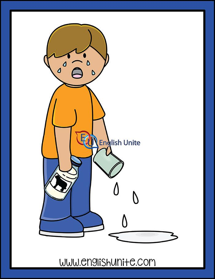 Idiom Cry Over Spilled Milk English Unite Idioms Kids Clipart Spilled Milk