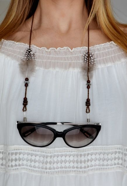 boho feather sunnycord for sunny times by shadeloops  :) #boho #sunnycord #summertime #coachella #accessoires #sunglasses