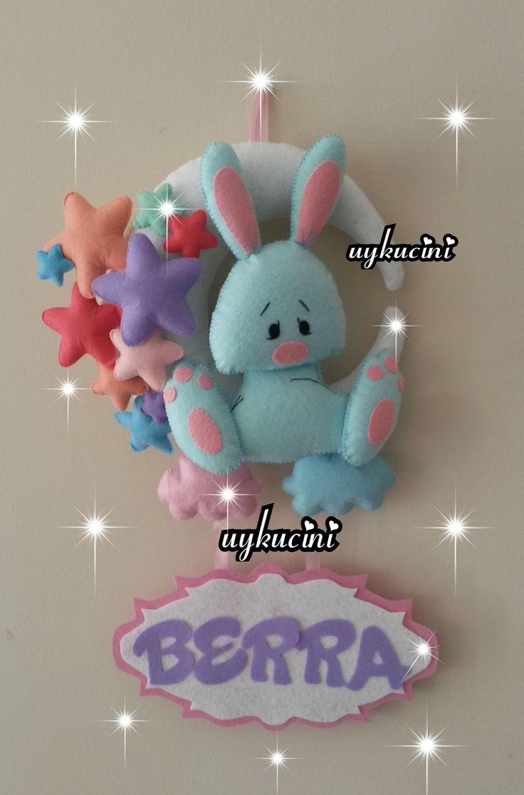uykucini - keçe tavşan ve yıldızlı sevimli kapı süsü felt rabbit and felt star door trim