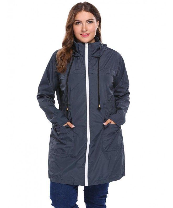 239acb7a77c Women Plus Size Lightweight Raincoat Cycling Hiking Portable Anorak  Waterproof Coat - Champlain Color - CM1868K50CZ