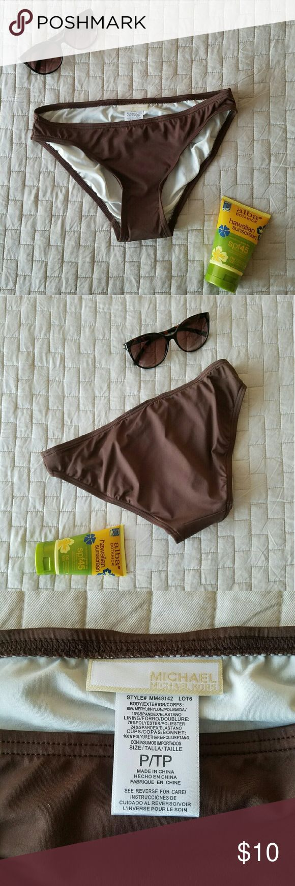 MICHAEL KORS Bikini Bottom Reposh! It didn't fit, and I got a great deal on it too 😭😭😭 Brown MK bikini bottom in Petite. Has not been washed, worn or altered. Hygienic liner still in tact and has not been removed or reattached. I'm a size 26 in pants, this would fit someone that is a size 23/24 at the widest part of the hips. MICHAEL Michael Kors Swim Bikinis