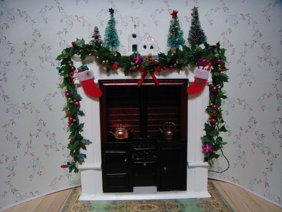 An old fashioned kitchen range, ready for Christmas.