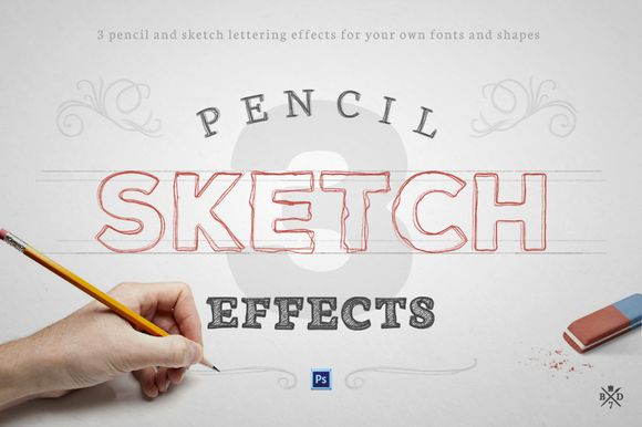 Pencil Sketch Effects by Basari Design on Creative Market
