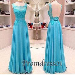 #promdress01 prom dresses - Pretty handmade blue lace long open back senior prom dress for teens, ball gown #prom2015 #promdress #coniefox #2016prom