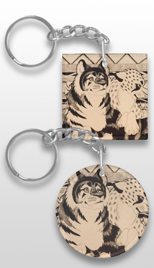 """Royals"" Illustrated Feline Keychain #tiger #cheetah #sepia #art #illustration #drawing"