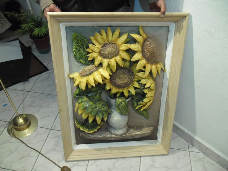 Just holding the sunflower vase painting for a quick pic.