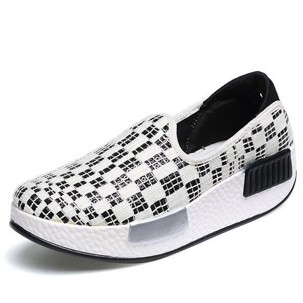 Canvas Pure Color Slip On Rocker Sole Platform Shake Casual Shoes