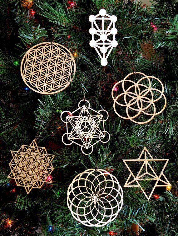 sacred geometry holiday ornaments set of seven laser cut wood - Laser Cut Wood
